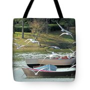 Birds In Flight At The Lake Tote Bag