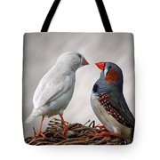 Birds Interacting Tote Bag