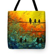 Birds Of A Feather Original Whimsical Painting Tote Bag by Megan Duncanson
