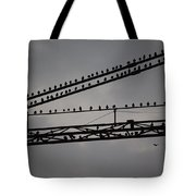 Birds On Crane Tote Bag