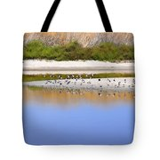 Birds On The River Bank Tote Bag