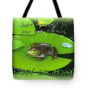 Birthday Greeting Card - Bullfrog On Lily Pad Tote Bag