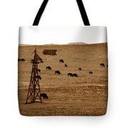 Bison And Windmill Tote Bag