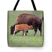 Bison Calf Having Breakfast In  Yellowstone National Park Tote Bag