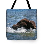 Bison Calf Running After Mama In Yellowstone National Park Tote Bag