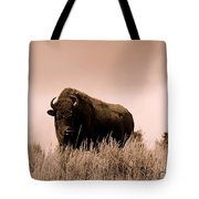 Bison Cow On An Overlook In Yellowstone National Park Sepia Tote Bag