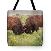 Bison Fight In Grand Teton National Park Tote Bag