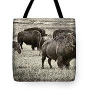 Bison Herd Bw Tote Bag