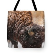Bison In Snow_1 Tote Bag by Tom Potter