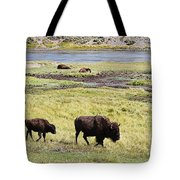 Bison Mother And Calf In Yellowstone National Park Tote Bag