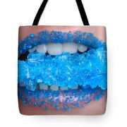Biting Into Blue Rock Candy  Tote Bag