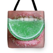 Biting Into Candy Lime Tote Bag