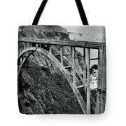 Bixby Creek Bridge Black And White Tote Bag by Benjamin Yeager
