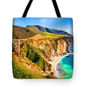 Bixby Creek Bridge Oil On Canvas Tote Bag