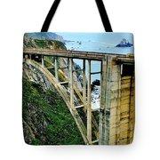 Bixby Creek Bridge Panorama Tote Bag by Benjamin Yeager