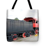 Black And Red Steam Engine Tote Bag