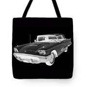 Black And White 1958  Ford Thunderbird  Car Pop Art Tote Bag