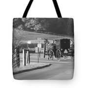 Black And White Amish Horse And Buggy Tote Bag