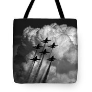Black And White And Blue Angels Tote Bag