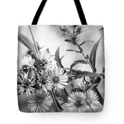 Black And White Asters Tote Bag