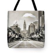 Black And White Benjamin Franklin Parkway Tote Bag
