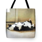 Black And White Cat Reclining Tote Bag