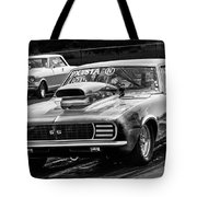 Black And White Chevy Camaro Ss Hotrod Tote Bag