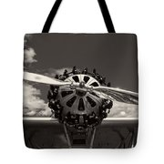 Black And White Close-up Of Airplane Engine Tote Bag
