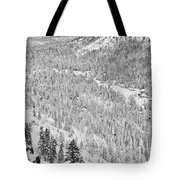 Black And White Lake Tahoe California Covered In Snow During The Winter Tote Bag