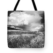Black And White Meadow Tote Bag