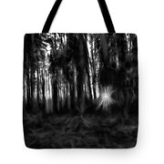 Black And White Monochrome Artistic Painterly Sun Between Trees  Tote Bag