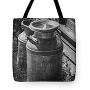 Black And White Old Prairie Homestead Vintage Creamery Cans Near The Badlands Tote Bag
