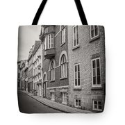 Black And White Old Style Photo Of Old Quebec City Tote Bag