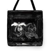 Black And White Orchid Flowers Growing Through Old Wooden Pictur Tote Bag