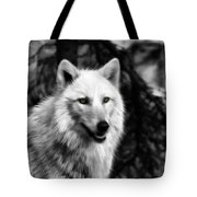 Black And White Painted Wolf Tote Bag