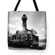 Black And White Philadelphia - Turtle Rock Lighthouse Tote Bag