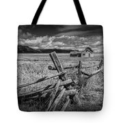 Black And White Photo Of A Wood Fence At The John Moulton Farm Tote Bag