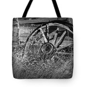 Black And White Photo Of An Old Broken Wheel Of A Farm Wagon Tote Bag