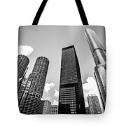 Black And White Photo Of Chicago Skyscrapers Tote Bag