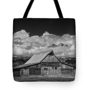 Black And White Photo Of The T.a. Moulton Barn In The Grand Tetons Tote Bag