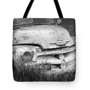 Black And White Photograph A Vintage Junk Chevy Pickup Truck Tote Bag