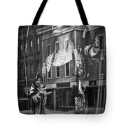 Black And White Photograph Of A Mannequin In Lingerie In Storefront Window Display  Tote Bag