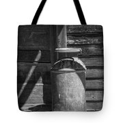 Black And White Photograph Of Vintage Creamery Can By The Old Homestead In 1880 Town Tote Bag