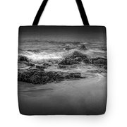 Black And White Photograph Of Waves Crashing On The Shore At Sand Beach Tote Bag