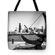 Black And White Picture Of Adler Planetarium Sundial Tote Bag by Paul Velgos