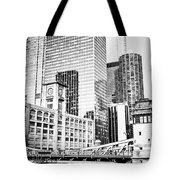 Black And White Picture Of Chicago At Lasalle Bridge Tote Bag