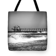 Black And White Picture Of Huntington Beach Pier Tote Bag by Paul Velgos