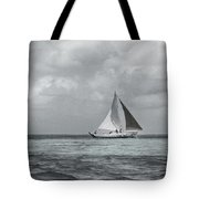 Black And White Sail Boat Tote Bag