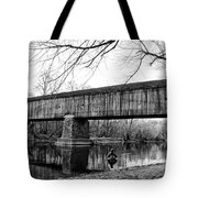 Black And White Schofield Ford Covered Bridge Tote Bag