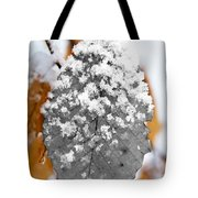 Black And White Snow Leaf Tote Bag